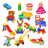 Toys collection. Illustration of a set of toys for children, on a white background Royalty Free Stock Photos