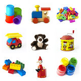 Toys collection. A collection of colorful children toys solated on white background stock image