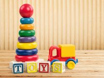 Toys collection on light background stock images