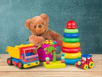 Toys. Collection soft preschool closeup  educational Royalty Free Stock Images