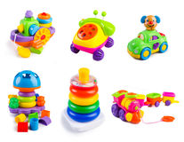 Toys collection on the white background Royalty Free Stock Photos
