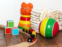 Toys collection, wooden train Royalty Free Stock Images
