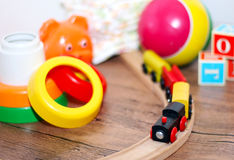Toys collection, wooden train Royalty Free Stock Photos