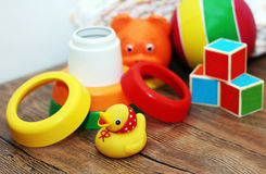 Toys collection, wooden train Royalty Free Stock Photography