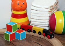 Toys collection, wooden train Stock Photo