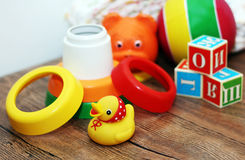 Toys collection, wooden train Royalty Free Stock Photo