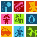 Toys color icons Stock Photos