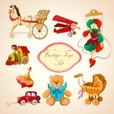 Toys colored drawn icons set Royalty Free Stock Images