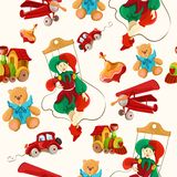 Toys colored drawn seamless pattern Royalty Free Stock Photo
