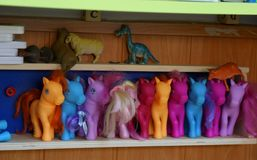 Toys colored ponies Royalty Free Stock Images