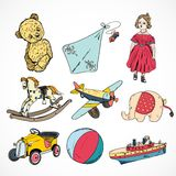 Toys colored sketch icons set Stock Photos