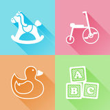 Toys colorful flat icons. Set of colorful flat icons about baby toys Royalty Free Stock Photo