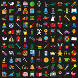 Toys colorful icons on black background Stock Image
