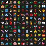 Toys colorful icons on black background Stock Image