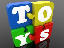 Toys concept on puzzle pieces. In background stock illustration