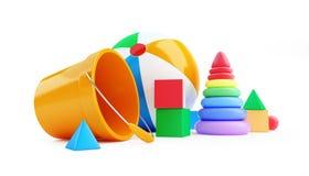 Toys cube, beach ball, pyramid on a white background 3D illustration. Toys cube, beach ball, pyramid on a white background 3D Stock Photos