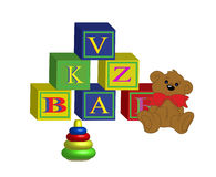 Toys and cubes Stock Image