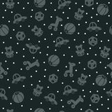 Toys on the dark green background. Seamless pattern.Toys on the dark green background Royalty Free Stock Image