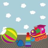 Toys. Different toys on abstract room background Royalty Free Stock Photography