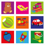 Toys. Different toys icons on squares with different color Royalty Free Stock Images