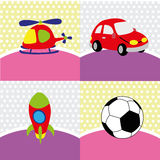 Toys. Different toys on special background Royalty Free Stock Photos