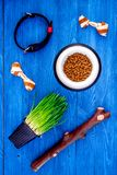 Toys for dog stick and ribbon bone near collar, dry food in bowl and grass in pot on blue wooden background top view Royalty Free Stock Photography