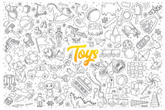 Toys doodle set with lettering vector illustration