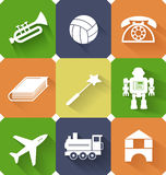 Toys and entertainment flat web icons Stock Photography