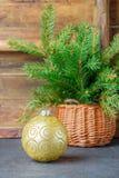 toys för spheres för bakgrundsjul exponeringsglas vita isolerade Färgrik boll och julgranfilial i korg Tappningstilen Arkivfoton