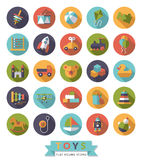 Toys flat design round icons vector collection. Set of 25 round flat design long shadow childrens toys icons Royalty Free Stock Image