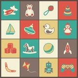 Toys Flat Icons Set Royalty Free Stock Image