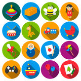 Toys 16 flat icons set for web Royalty Free Stock Images