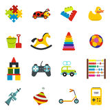 Toys flat icons set Stock Photography