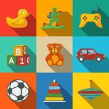 Toys flat long shadow icons set with - car, duck Stock Photo