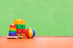 Toys on the floor. In a playroom Stock Photos