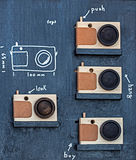 Toys in form of wood photo camera Royalty Free Stock Image