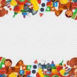 Toys frame. Teddy bear tipper pyramid tumbler snail machine bucket whirligig border template for kids playground vector. Illustrations on transparent background royalty free illustration