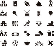Toys and games icon set. Black and white icon set relating to toys and games royalty free stock photos