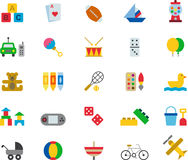 Toys and games icon set. Set of colorful flat icons relating to toys and games vector illustration