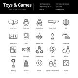 Toys And Games Line Icons. Simple line toys and games icons. Icons for web and mobile interfaces Royalty Free Stock Photos