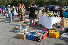 Toys and games for sale on the flea market Stock Photography
