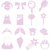 Toys and accessories for girl graphic Royalty Free Stock Images