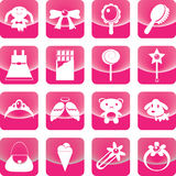 Toys for girl icon on pink button Stock Photos