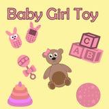 Toys for girl set  on yellow background. Cartoon style editable vector. Newborn baby girl, little princess Royalty Free Stock Photos