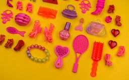 Toys for girls from a bag the form of strawberries royalty free stock photo