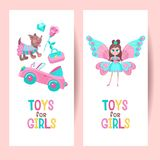 Toys for girls. Set of vector cliparts stock illustration