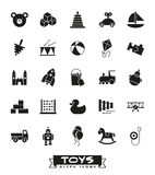 Toys glyph icons vector set. Collection of solid black childrens toys icons Stock Photo