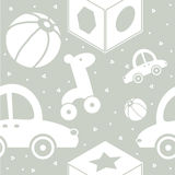 Toys on the grey background. Seamless background.Toys on the grey background Stock Images