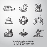 Toys hand drawn icons set with - car, duck, bear stock illustration