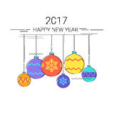 Toys Hanging Simple Line Sketch Merry Christmas Happy New Year Banner Card Outline Stock Photography